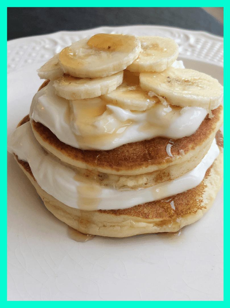 High Protein Banana Cream Pie Pancakes